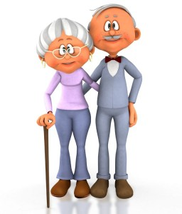 Cartoon older couple